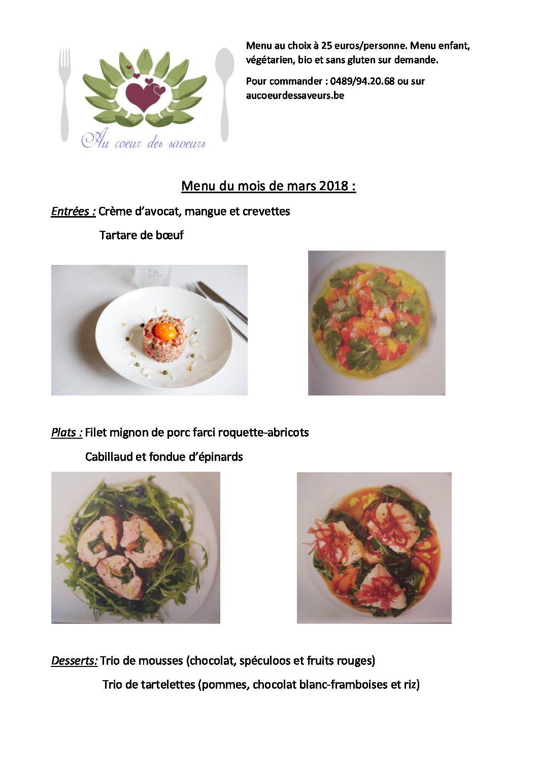 menu du mois de mars